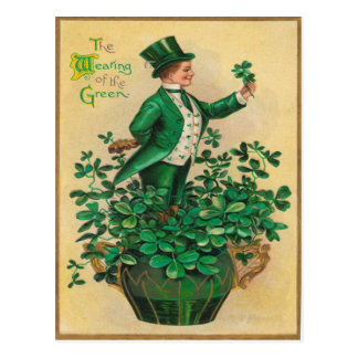 Leprechaun Shamrock Clay Pipe Harp of Erin Postcard