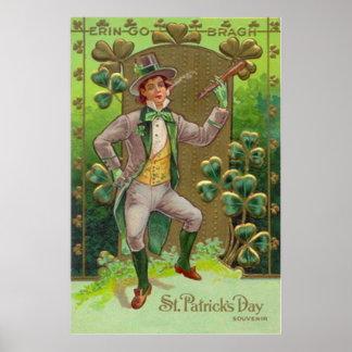 Leprechaun Shamrock Shillelagh Clay Pipe Poster