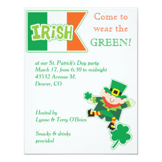 Leprechaun St Patricks Day Party Invitation
