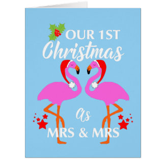 Lesbian Couples First Christmas As Mrs & Mrs Card