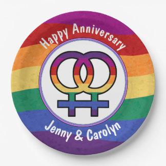 Lesbian Female Gender Symbol Rainbow Paper Plate