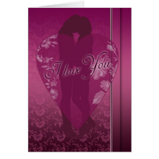 Lesbian I love You Card, With Female Silhouette Card