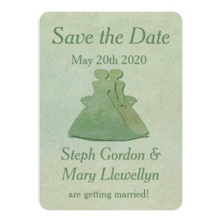 Lesbian Wedding Save the Date Card - Mint Rustic