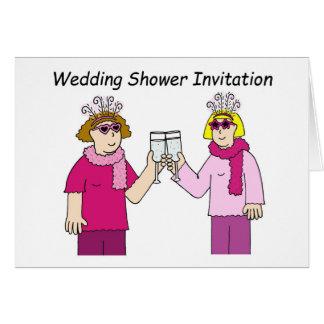 Lesbian wedding shower invitation. greeting card