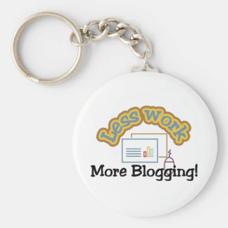 Less work, more blogging T-shirts and Gifts. Key Ring