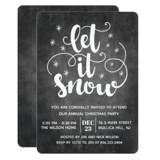 Let it Snow Modern Typography Winter Invitation