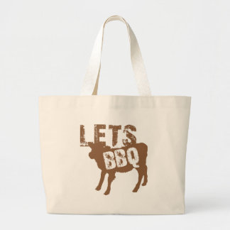 Let's BBQ! with cute little cow Large Tote Bag