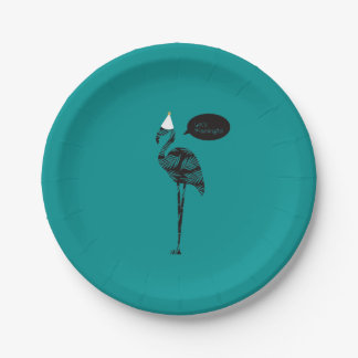 Let's Flamingle! paper plate 7 Inch Paper Plate
