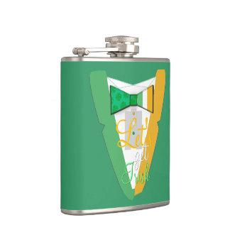 Let's Get Irish Bowtie Tuxedo Hip Flask
