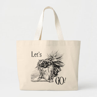 Let's Go!  Eager Pekingese Doggie Large Tote Bag