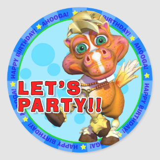 LET'S PARTY!! Birthday Stickers with Bucky