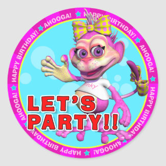 LET'S PARTY!! Birthday Stickers with Pinky