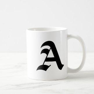 Letter A Mug-Old English Bold Coffee Mug