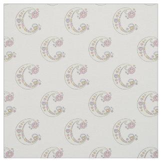 Letter C monogram decorative text custom fabric
