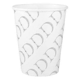 Letter D Bone Initial Paper Cup