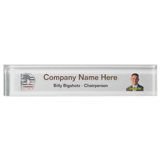 Letter D Monogram Initial USA Flag Pattern Nameplate