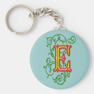Letter E Alphabet Vines Print Key Ring