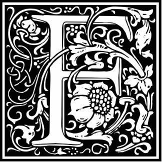 Letter F Medieval Monogram Vintage Initial Standing Photo Sculpture