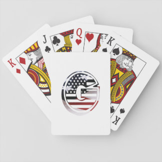 Letter G Monogram Initial Patriotic USA Flag Playing Cards
