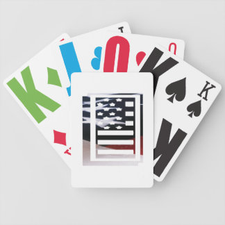 Letter I Monogram Initial Patriotic USA Flag Bicycle Playing Cards