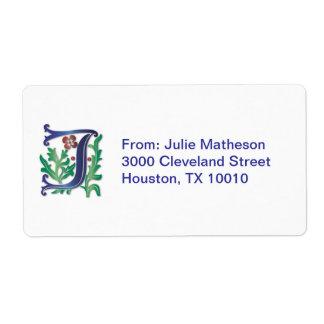 Letter J Monogram Fleur de lis Shipping Label