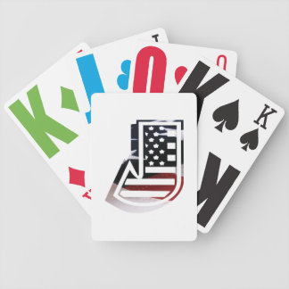 Letter J Monogram Initial Patriotic USA Flag Bicycle Playing Cards