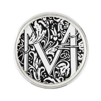 Letter M Medieval Monogram Vintage Initial Lapel Pin