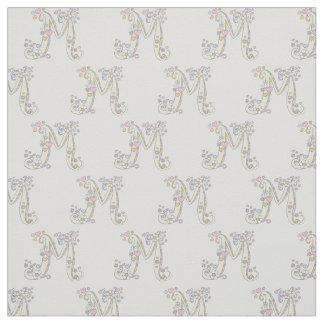Letter M monogram decorative text custom fabric