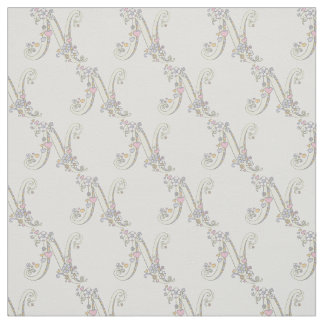 Letter N monogram decorative text custom fabric