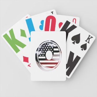 Letter O Monogram Initial Patriotic USA Flag Bicycle Playing Cards