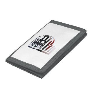 Letter P Monogram Initial Patriotic USA Flag Tri-fold Wallet