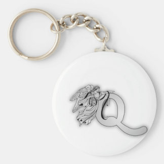 Letter Q Angel Monogram Initial Basic Round Button Key Ring