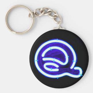 """Letter """"Q"""" Neon Light Monogram Basic Round Button Key Ring"""