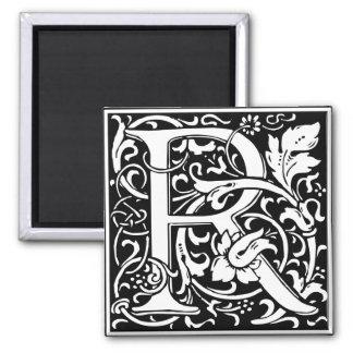 Letter R Medieval Monogram Vintage Initial Square Magnet