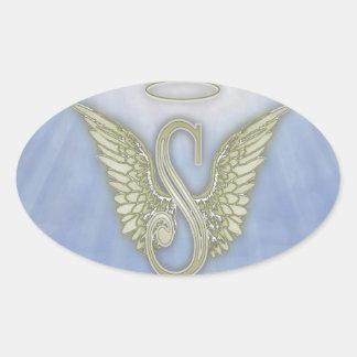 Letter S Angel Monogram Oval Sticker