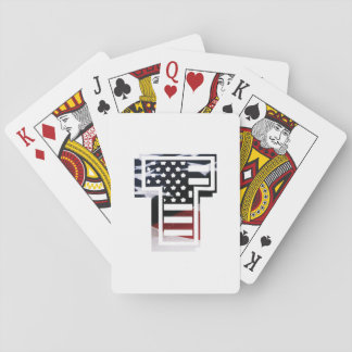 Letter T Monogram Initial Patriotic USA Flag Playing Cards