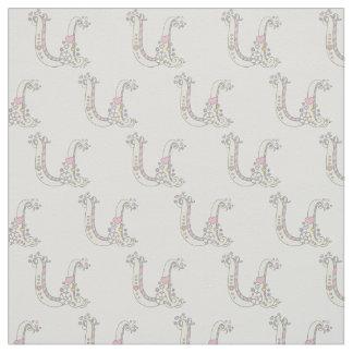 Letter U monogram decorative text custom fabric
