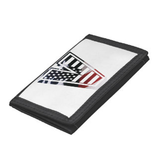 Letter V Monogram Initial Patriotic USA Flag Tri-fold Wallet