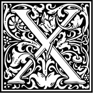 Letter X Medieval Monogram Vintage Initial Standing Photo Sculpture