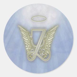 Letter Z Angel Monogram Round Sticker