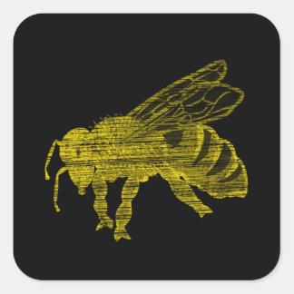 Letterpress Bee Square Sticker