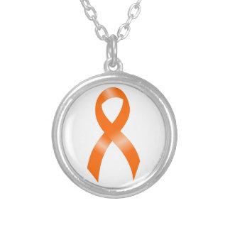 Leukaemia Orange Ribbon Silver Plated Necklace