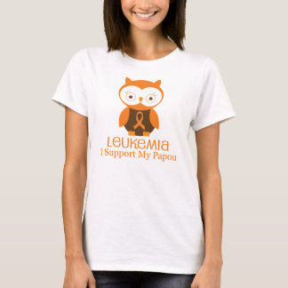 Leukemia Orange Ribbon Owl  Papou T-Shirt