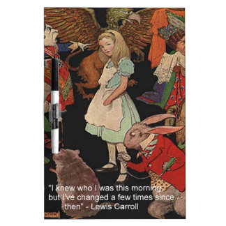 Lewis Carroll Illustration & Mind Change Quote Dry Erase Board
