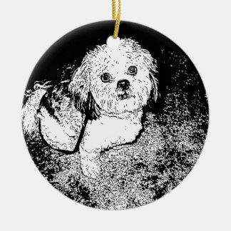 Lhaso Apso in Pen and Ink Christmas Ornament