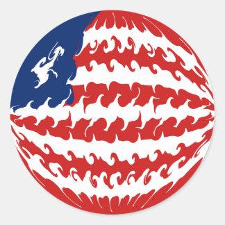 Liberia Gnarly Flag Round Sticker