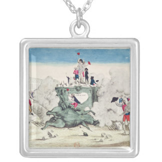 Liberty toppling the statue of the Greatest Silver Plated Necklace