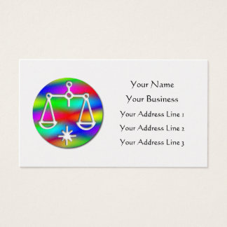 Libra Rainbow Scales Zodiac Star Sign on Gold Business Card