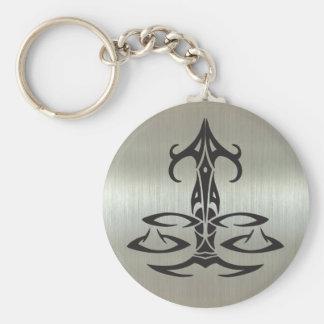 Libra Scales Silhouette on Metallic Effect Key Ring