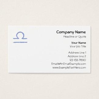 Libra. Zodiac Astrological Sign. Blue. Business Card